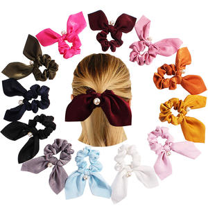 Free Shipping Wholesale Fashion Solid Elastic Velvet Long Ribbon Pearl Hair Band For Girls Detachable Ponytail Accessory