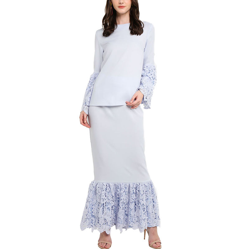 Malaysia Islamic New Design O Neck Flare Long Sleeves Lace Hollow Out Baju Kurung For Muslim Women