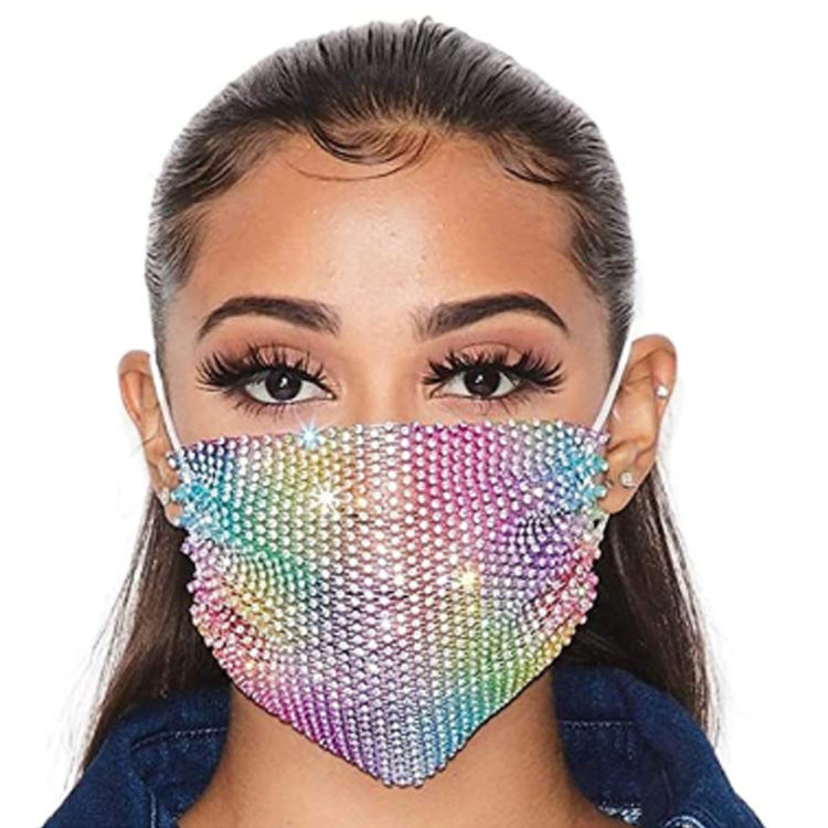 Fashion Crystal Mask Purple Rhinestone Mesh Masks Elastic Masquerade Cloth Bling Party Nightclub Mask Chain Jewelry for Women