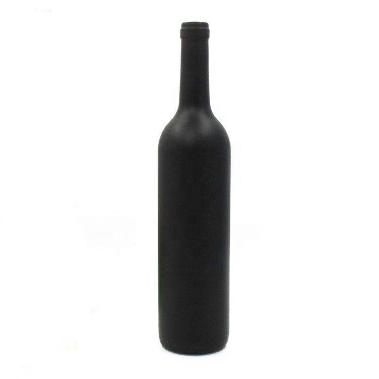 Wholesale Customized Printing 500ml 750ml Bordeaux Matt Black Red Wine Glass Bottles