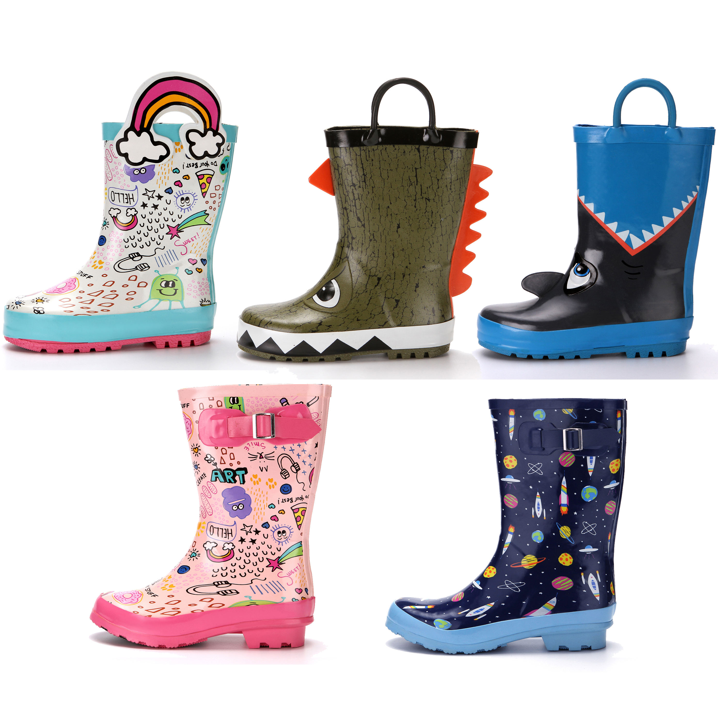 Cheap卸売CuteサメワニKids Garden Shoes Toddler/Little Kids/Big Kids Rubber Waterproof Rain Boots少年少女のため