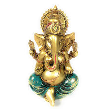 Golden Powder Mixed Resin India Ganesh Ganesha Elephant Hindu  God of Success with Good Protection Finish with Color golden