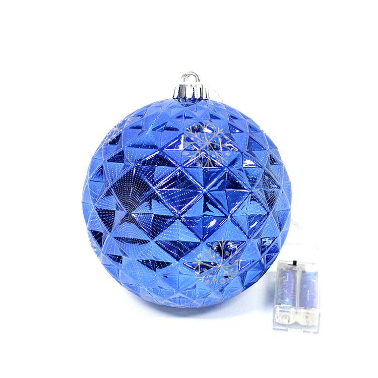 Nouveau design décoration de festival en plastique ornement incassable boule De Noël avec plateau tournant la <span class=keywords><strong>lumière</strong></span>