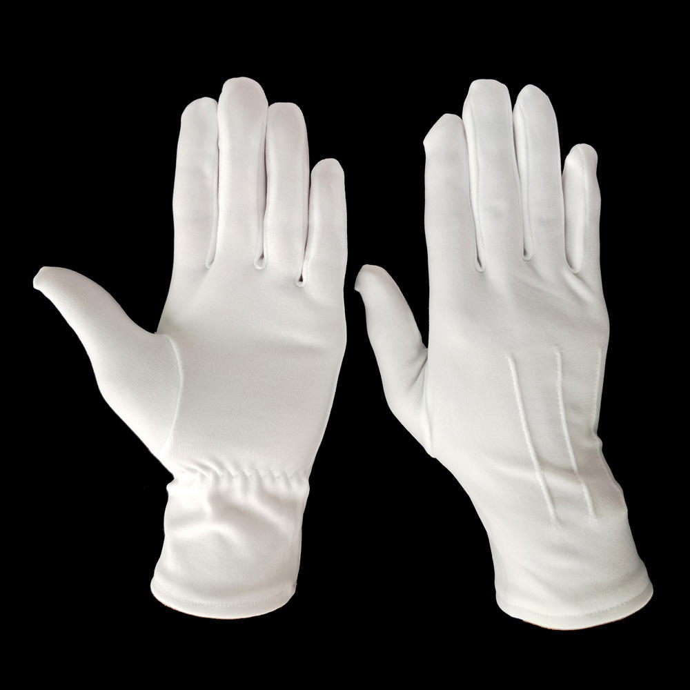 white nylon moisture enhancing eczema therapy hand gloves with plastic rubber string