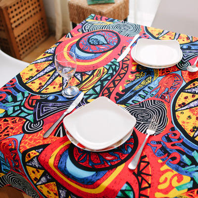 Wholesale high performance printed plaid style linen cotton fabric for table cloth home cloth