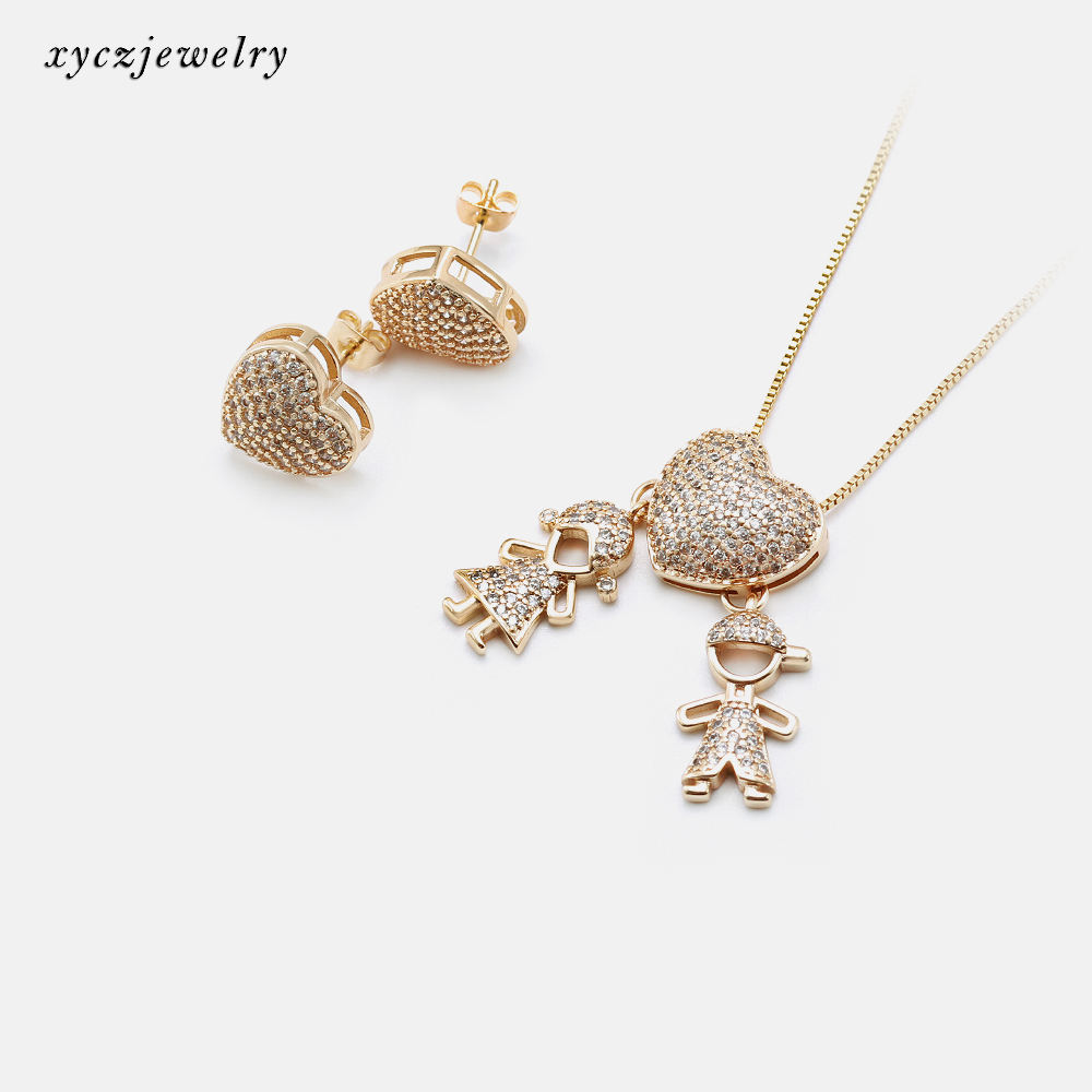 Mother's day gold jewelry set great love trendy earrings necklace heart jewelry