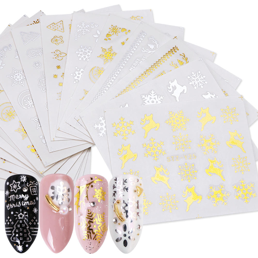16 pcs Christmas nail art water transfer stickers set  glod and silver snowflake deer head nail water stickers