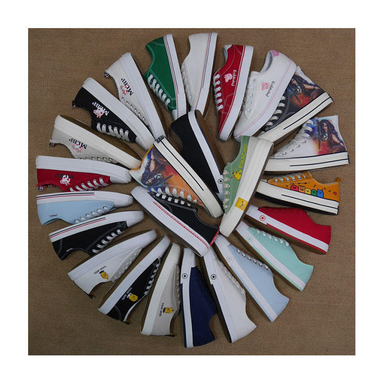 WH3122 Wholesale Vulcanized Sneakers Flat Plain Canvas Shoes Women