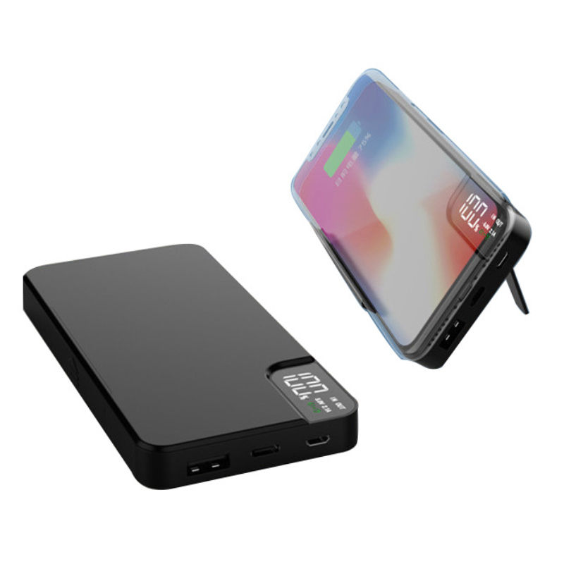 5W Wireless Charging 8000mah Stand Power Bank LCD Digital Display Qi Wireless Power Bank With Phone Stand Function