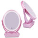 Wholesale usb rechargeable double side vanity mirror LED lights with lipstick case