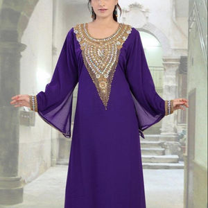 Women Fashion Embellished New V-Neck Bottom Full Lace Work Beaded Kaftan
