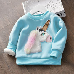 Spring Autumn Newborn baby Warm Long Sleeve Pullover Comfort Blend Sweatshirt Top T-Shirt with cute animal patched
