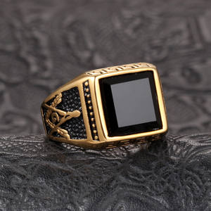 Men's Gold Plated Stainless Steel Ring Black Agate Masonic Signet Freemason Jewelry