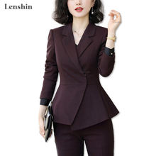 Lenshin Soft and Comfortable 2 Pieces Set Formal Pant Suit for Women Work Wear Office Lady Style Business Jacket with Pan