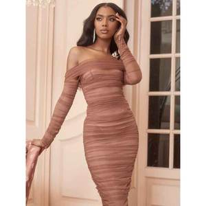 A2927 mesh Off shoulder sexy long sleeve celebrity boutique dress