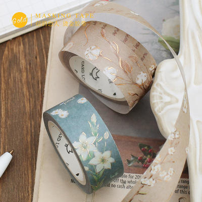 Hot stamping floral paper band roll colorful flower fresh DIY decorative washi tape stickers