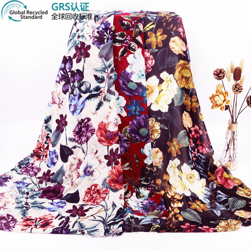 2021 New Arrivals Printed Silk Chiffon 100% Polyester Recycle Fabric For Dress