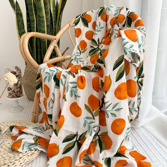 GOTS 100% Cotton Organic Muslin Fabric Cloth Wraps Baby Blankets Orange Printed Bamboo Baby Blanket