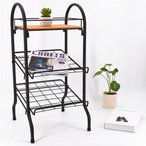 2020 Home Fashion 3-Layer Metal and Wooden Magazine Rack with Folding design For Home