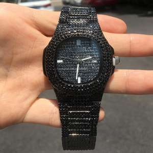 High quality Fashion Stainless Steel Micro Paved Hip Hop Men's Wrist Watch Gold Shinny Diamond Luxury Wristwatch