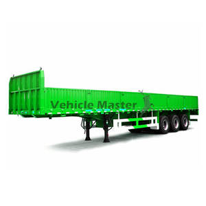 Vehicle Master 80Tons Sidewall Tractor 3 Axle 60 Ton Flatbed Drop Side Wall Semi Trailer