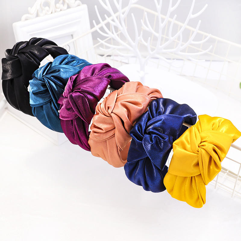2019 New Design Custom Fashion Shiny Fabric Girls Forehead Hairband Plain Knot Headbands Hair Band For Women