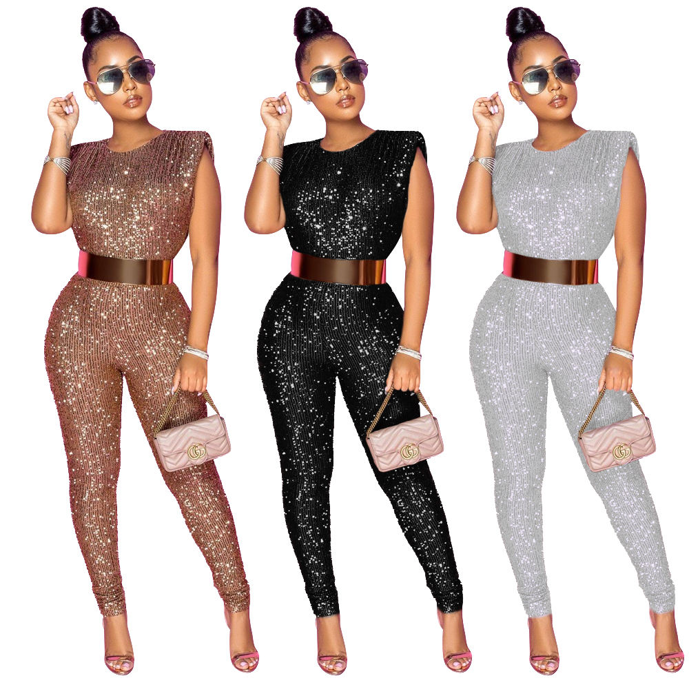 Foma Clothing CY8863 Hot selling 2020 sequin sleeveless sexy one piece fashion jumpsuit(Not with belt)