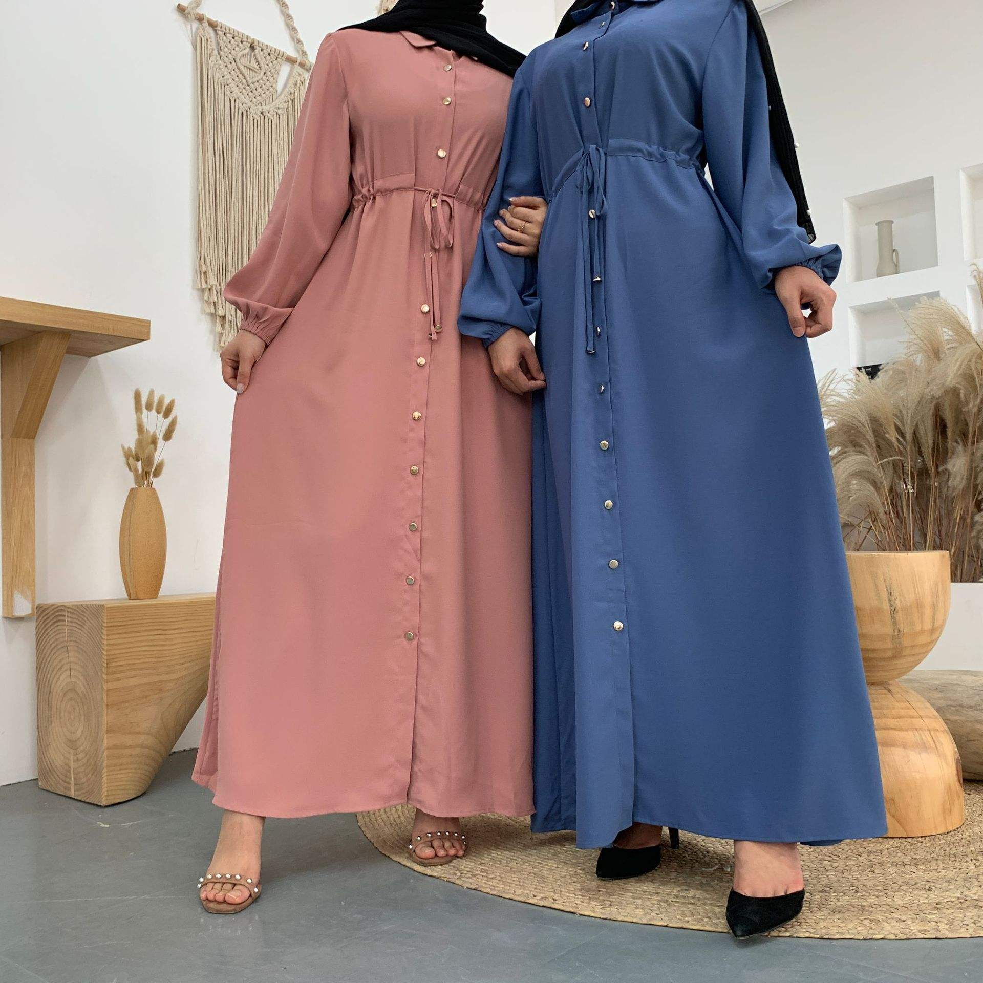 2020 new fashion lapel solid color full button slim dress long skirt abaya muslim dress islamic clothing