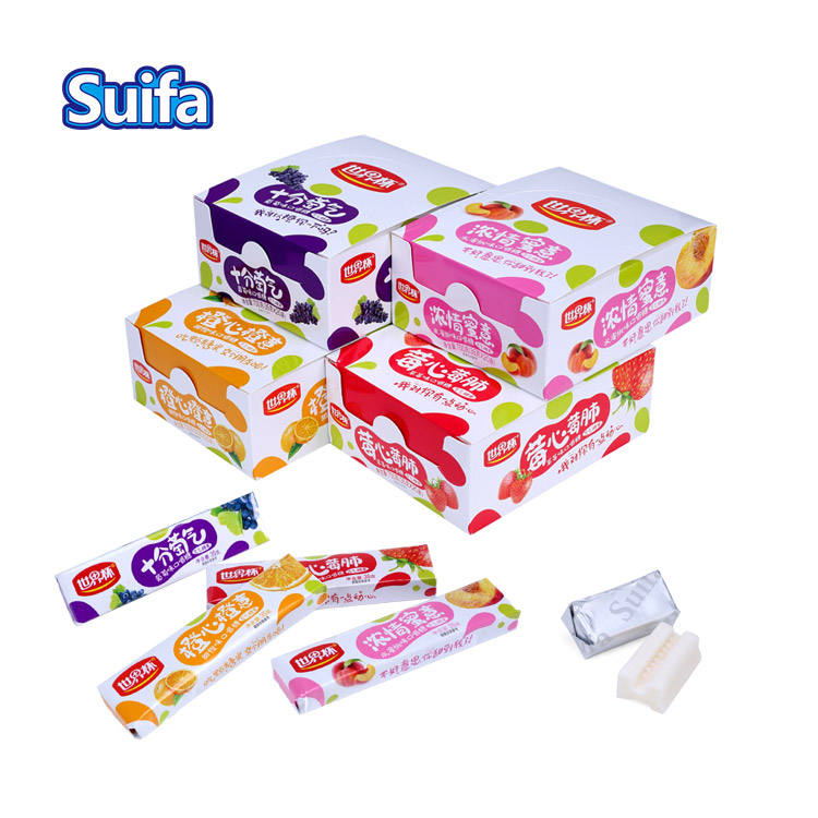 Custom oem service good taste 35g frutiy flavor soft chewing taffy candy