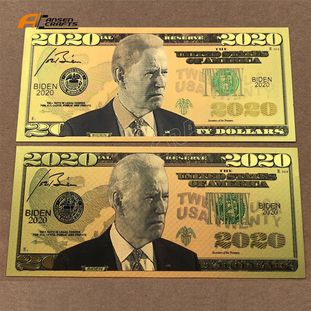 Nuovo 2020 Genral Elezione Presidente Joe Biden Elettorale Color <span class=keywords><strong>Oro</strong></span> Banconota We trust in Gold Collection