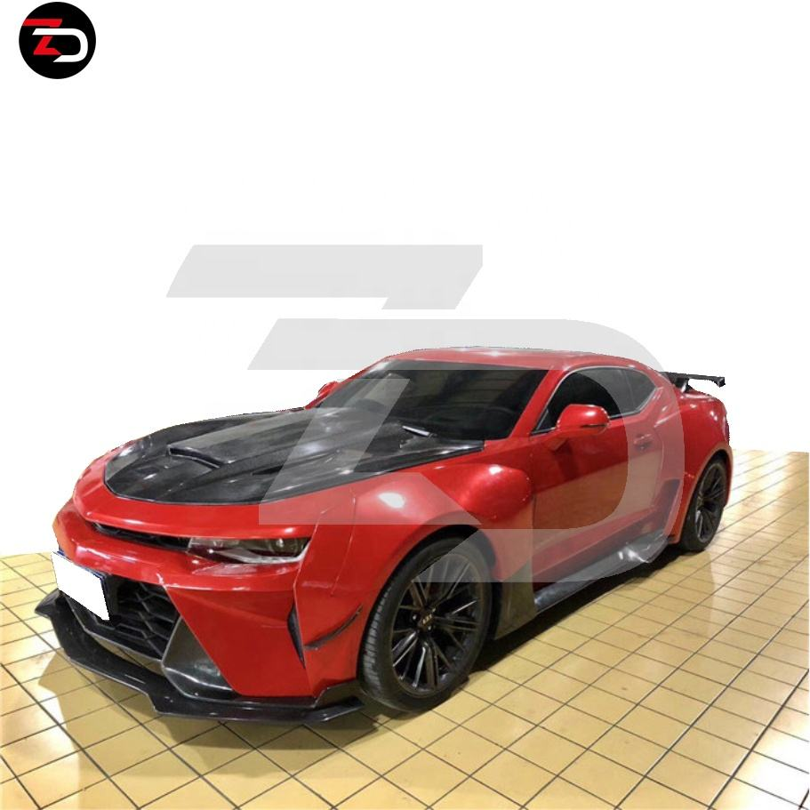 ZD Style Wide Body Kit With Front Bumper Rear Bumper Bonnet Rear Wing Fender Flares Side Skirts Canards For Camaro Gen 6