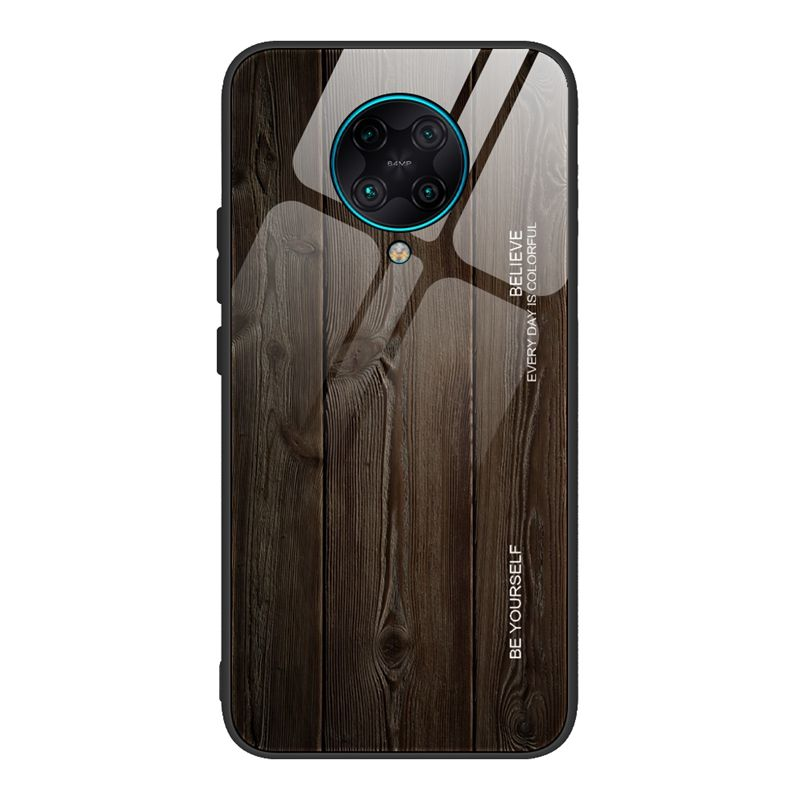 Wooden Pattern Tempered Glass Soft Frame Phone Case For Xiaomi Redmi K30 Pro Note 8T 10 Pro A3 9 Lite 8A 7A 6A