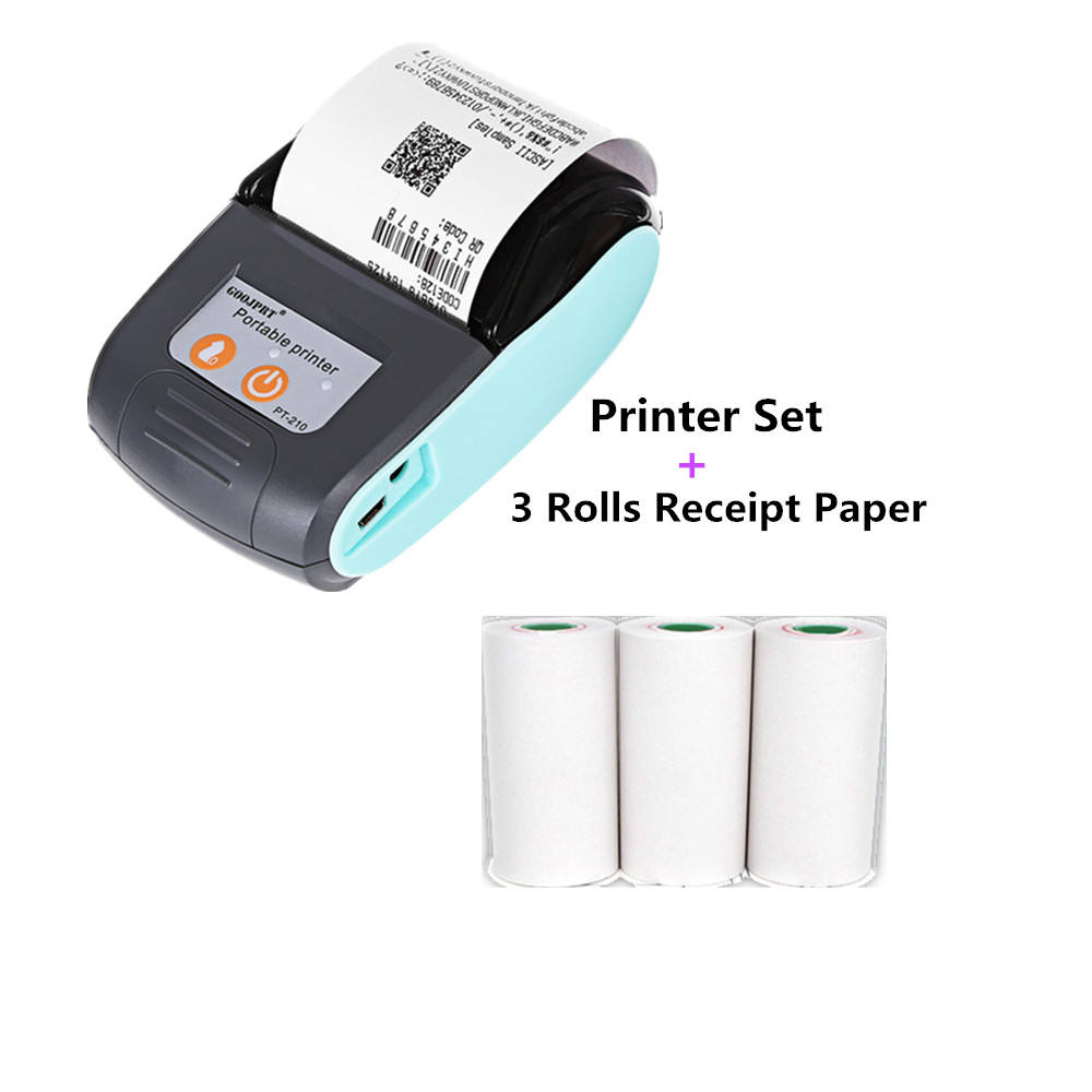 GOOJPRT PT210 mini 58MM Bluetooth Thermal Printer Portable Wireless Receipt Machine for Windows Android iOS