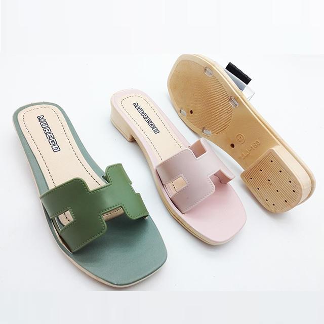 2021 newest fashion design ladies pcu low heel women slipper sandals for ladies