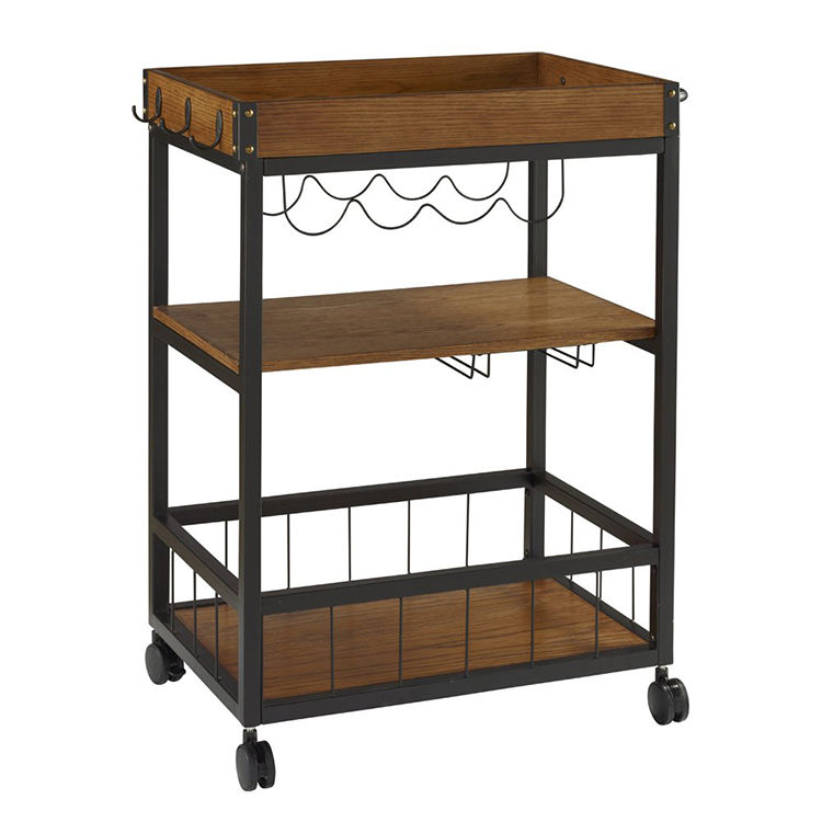 Wood Top Industrial Metal Furniture Storage Service Outdoor Bar Cart For The Home
