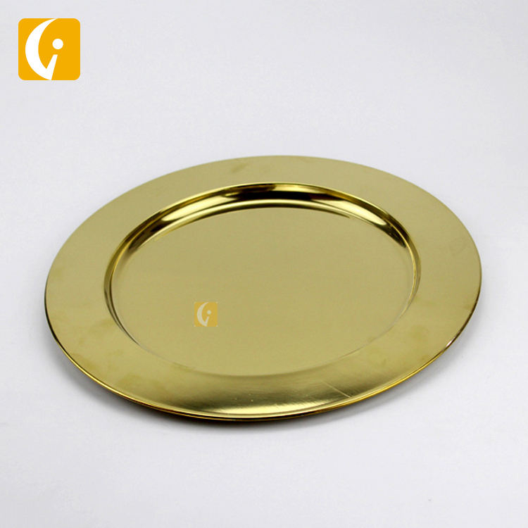 Korean hot sales mirror golden stainless steel round plate hotel excellent metal plate food dish