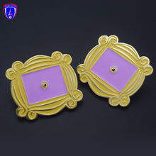 Friends TV Monica's Purple Door Gold Frame Peep Hole metal pin Custom Made Cute Enamel cartoon Pins For Gifts