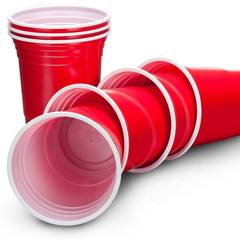 Disposable American red solo plastic cup / party cup /16oz red cup With White Inner