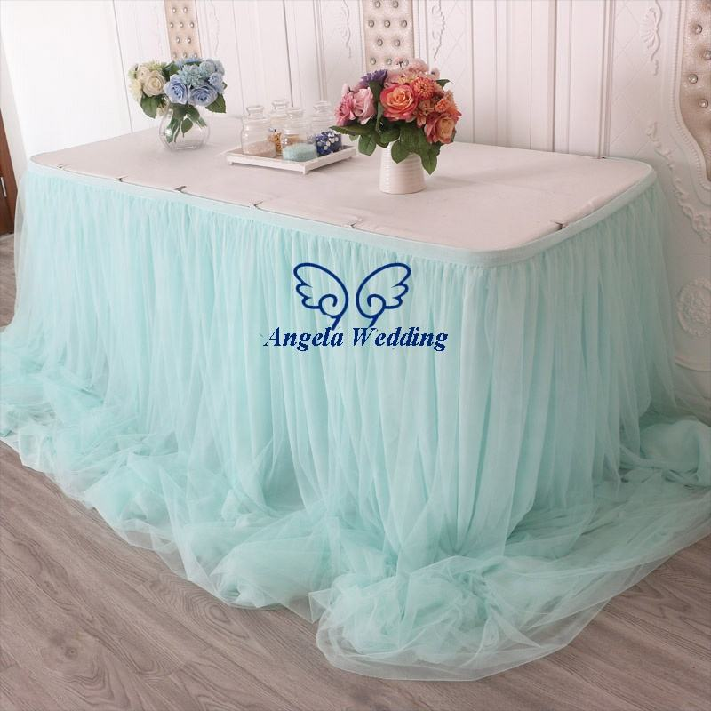 CL072H fancy factory drop shipping different beautiful custom made ruffled light green chiffon and tulle bridal table skirt