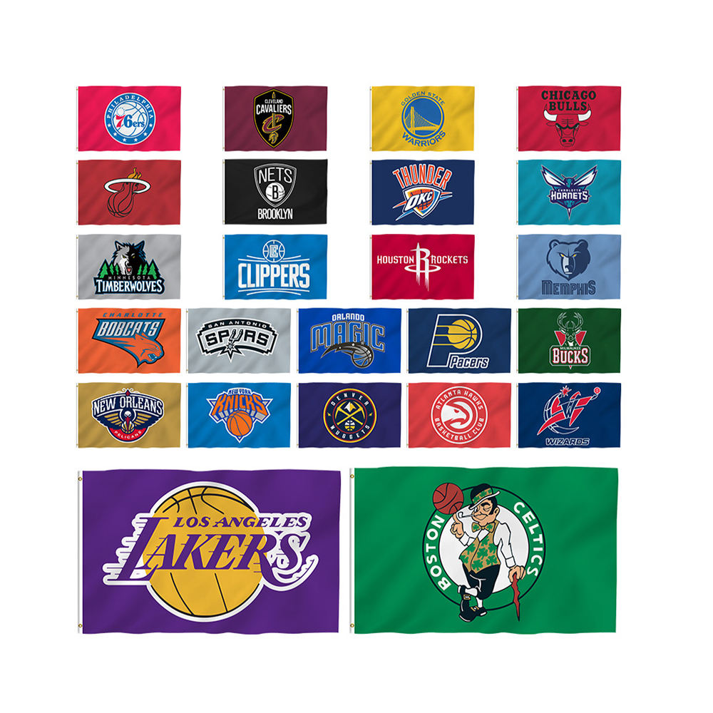 Top flagge hersteller 3*5 ft Polyester Los Angeles lakers flagge sport NBA flagge custom Banner