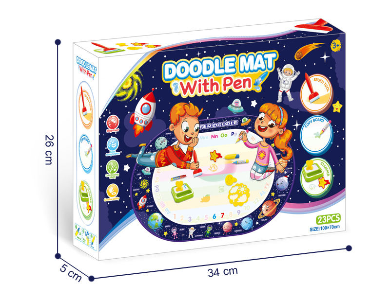 Water Drawing Mat Kid Travel Learning Drawing Toy Space Theme Oval Water Aqua Magic Doodle Mat