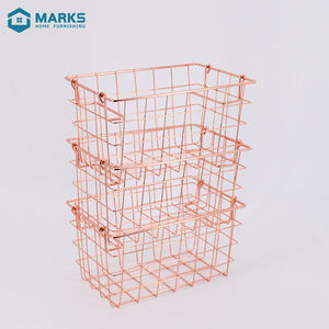 2020 Nordic Style Rose Gold Metal Wire Storage Basket For Household