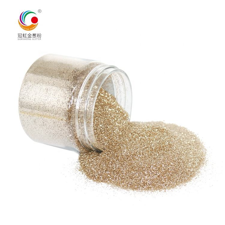 GH3200 Champagne Gold Extra Fine Polyester Shimmer Powder For Christmas Crafts Paint Decoration Factory Sale PET Glitter