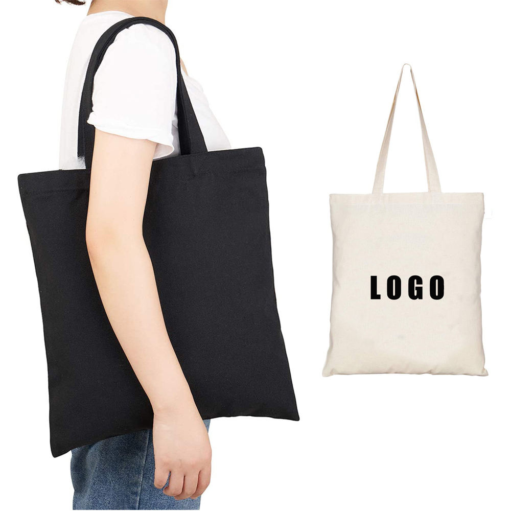 Custom Eco-friendly Plain Reusable Cotton Canvas Organic Grocery Recycles Carry Foldable Shopping Tote Bag