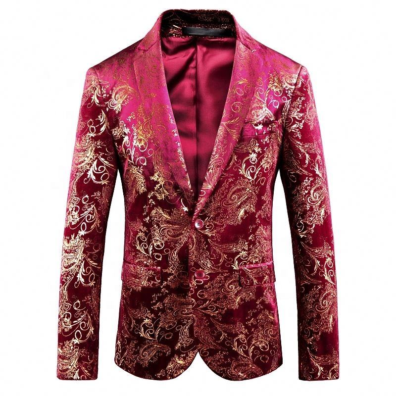 JNH Festival Suits China Red Color Casual Fashion New Blazer Men
