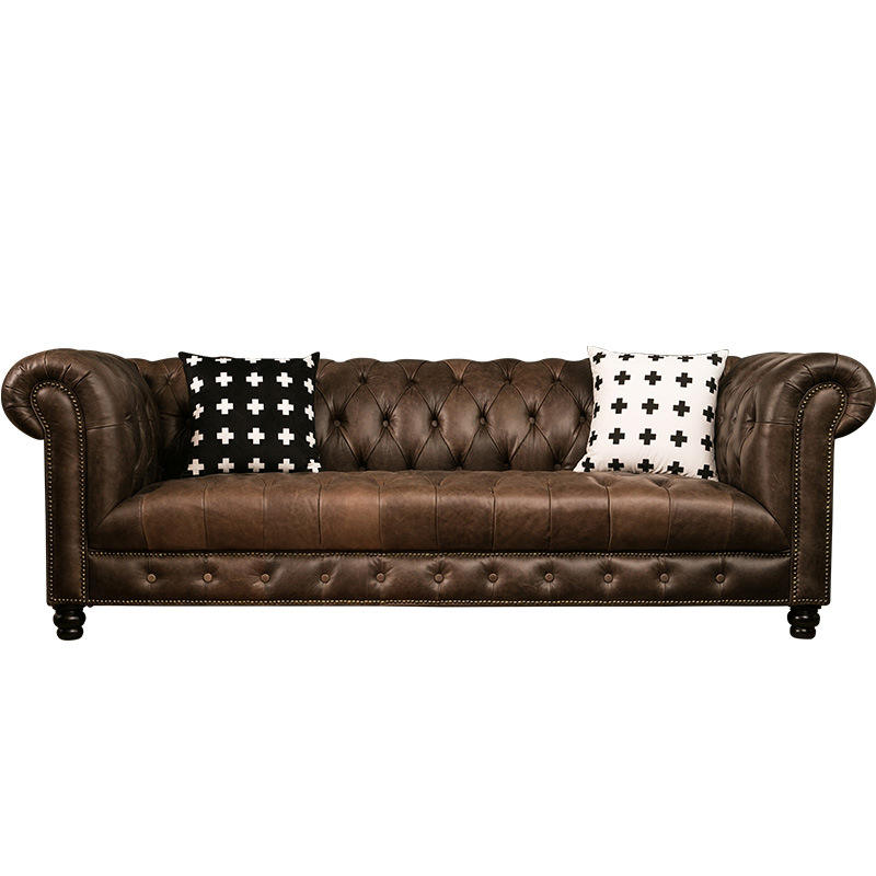 Industrial Vintage Leather 4 Seater Big Seat Cover Chesterfield Sofa Malaysia