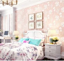 Pink royal princess style room decorative non-wovern wall paper high quality cheap wallpaper wallcovering
