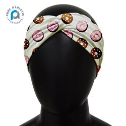Pure wholesale custom sublimation print knitted soft turban white headband for all season workout sport headband