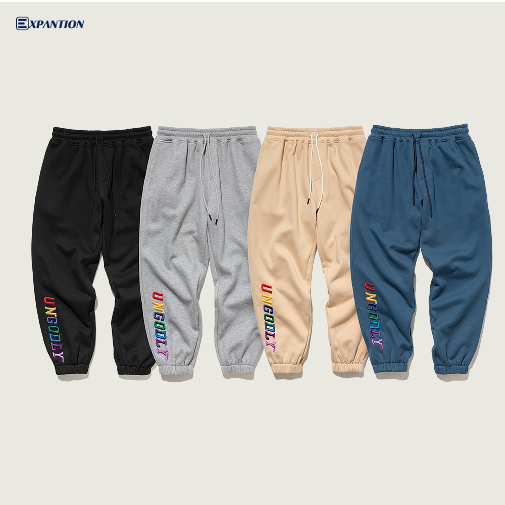EXP factory wholesale custom logo fashion loose gym joggers custom embroidered men's sweat pants