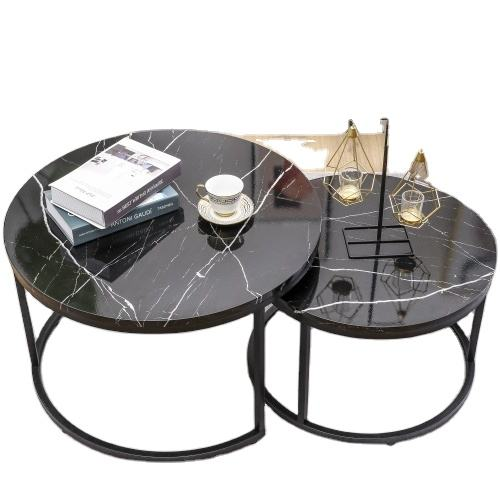 Glass Hot Sell Wooden Unique Modern Design Luxury Black Marble Round Top Gold Frame End Coffee Table Set Living Room Furniture
